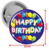 'Happy Birthday' Blue 50mm Button Badges Pack of 10