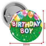 'Happy Birthday' Badges - Green - Boy (10 Badges - 50mm)