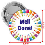 'Well Done' Multi Coloured 50mm Button Badges Pack of 10
