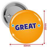 'GREAT' Badges - Orange (10 Badges - 50mm)