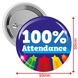 100% Attendance Badges (10 Badges - 50mm)