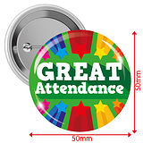 'GREAT Attendance' Badges - Green (10 Badges - 50mm)