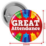 'GREAT Attendance' Red 50mm Button Badges Pack of 10