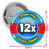 I know my 12x Times Tables Badges (10 Badges - 50mm)