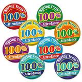 100% Spring Term Attendance Badges - Maxipack (40 Badges - 38mm) Brainwaves
