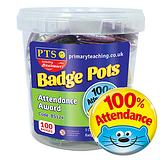 100% Attendance Animal Badge Pot (100 Badges - 38mm) Brainwaves