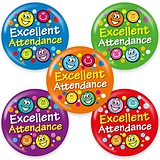 Excellent Attendance Badges - Maxipack (40 Badges - 38mm) Brainwaves