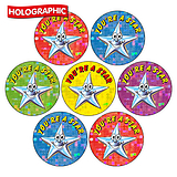 Holographic You're A Star Stickers (35 Stickers - 20mm)