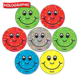 35 Mixed Smile Holographic 20mm Circular Stickers