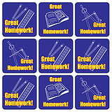 'Great Homework' Blue Mixed Image 20mm Square Stickers x 35