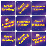 Reading Stickers - Space (35 Stickers - 20mm)