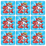 Mini sheet of 35 Two Times Table 20mm Square Stickers