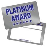 Metallic Platinum Award CertifiCARDS (10 Cards - 86mm x 54mm)