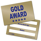 'Gold Award' Metallic Plastic CertifiCARDS x 10