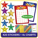 Star Charts and Stickers (4 x A5 Charts plus 420 x 18mm Star Stickers)
