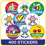 Excellent and Well Done Stickers Value Pack (400 Stickers - 32mm)