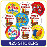 Happy Birthday Stickers UNSCENTED  Value Pack (425 Stickers)
