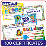 Scented Certificates 'Well Done' A5 size x 100 in a Value Pack
