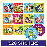 Value Pack Tables Mixed Characters Stickers (20mm) x 520