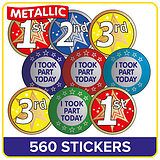 Metallic Sports Day Stickers Value Pack (560 Stickers - 37mm)