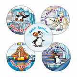 'Super Speller' Stickers - Polar (30 Stickers - 25mm)