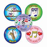Music Stickers (25mm, Multicoloured, x 30)