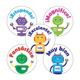 Spanish Robot Stickers (30 Stickers - 25mm)