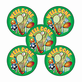 'Well Done' Sports Stickers (30 Stickers - 25mm)