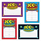 100% Attendance Certificates (20 Certificates - A5) Brainwaves