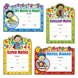 Maths Reward Certificates - Cut Out Design (20 Certificates - A5) Brainwaves
