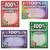 Metallic 100% Attendance Award Certificates (20 Certificates - A5) Brainwaves