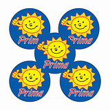 Sheet of 70 Sunshine Prima 25mm Stickers