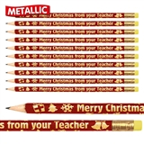 Merry Christmas from your Teacher Metallic Pencils (Pack of 12)
