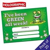 Holographic 'I've been GREEN all week' Certificates (20 Certificates - A5)