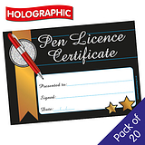 Holographic Pen Licence Certificates (20 Certificates - A5)