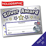 Silver Award Holographic Certificates (A5 x 20)