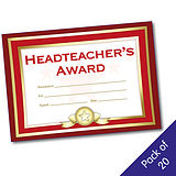 Pack of 20 Head Teachers Award Formal Red A5 Certificates
