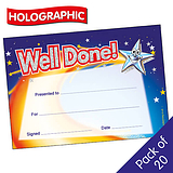Holographic Well Done Star Certificates (20 Certicates - A5)