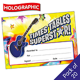 Holographic Times Tables Certificates (20 Certificates - A5)