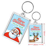 Merry Christmas from your Teacher Reindeer & Santa Acrylic Keyring (50mm x 35mm)