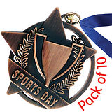 Pack of 10 Bronze Sports Day Medals