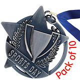 Pack of 10 Silver Sports Day Medals