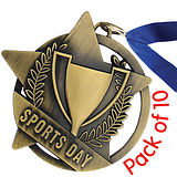 Pack of 10 Gold Sports Day Medals