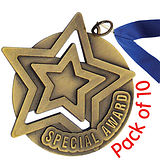 Pack of 10 Gold Special Award Medals