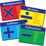 Set of 4 Numeracy Vocabulary A4 Card Posters