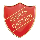 Sports Captain Enamel Badge - Red (30mm x 26.4mm)