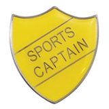 Sports Captain Enamel Badge - Yellow (30mm x 26.4mm)