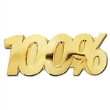 100% Gold Badge - Metal (25mm x 10mm)