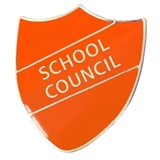 School Council Enamel Shield Badge - Orange
