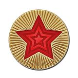 Round Star Enamel Badge - Red
